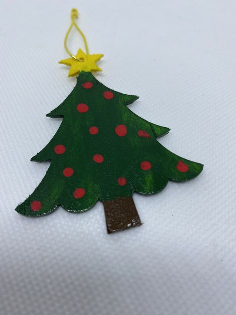 Christmas Tree - Painted Wood Ornament. Great Gift For Kids, Family and Friends. Stocking Stuffer, Party Favor, Handcrafted Charm.. #ChristmasPresent #WhiteElephant #HolidayGiftGiving #ChristmasOrnament #KidActivityKit #HandPaintedWood #KidsRoomArt #ChristmasTree #KidCrafts #HandmadeGift