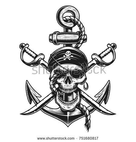 Pirate Skull Emblem With Swords Anchor And Rope On White