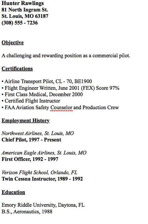 Example Of Chief Pilot Resume -    resumesdesign example - scannable resume template