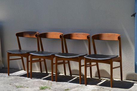 4 Chaises Scandinaves Design Teck Et Simili Cuir Noir 1960 Vintage Vintagefashion Chair Teck Leather Scand Simili Cuir Noir Simili Cuir Chaise Scandinave