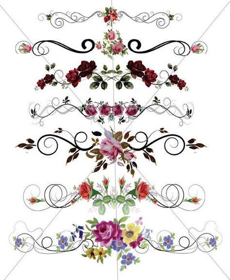Floral Divider Lines Fancy Swirls Ornamental Edges Floral image 0