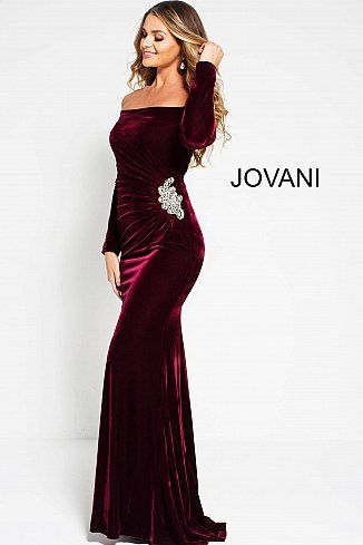 Jovani Dress 51464 Wine Long Fitted Ruched Bodice Off The Shoulder Crystal Brooch Dress Prom Dresses Long With Sleeves Long Sleeve Evening Dresses Evening Dresses