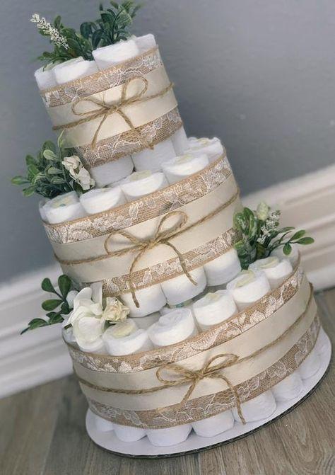 Diaper Cakes Tutorial, Diaper Cake Instructions, Diy Diaper Cake, Unique Diaper Cakes, Girl Diaper Cakes, Nappy Cake, Baby Shower Flowers, Boho Baby Shower, Baby Boy Shower