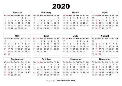 2020 Calendar With Week Numbers Calendar With Week Numbers