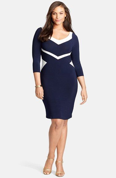 Lauren Ralph Lauren Colorblock V-Neck Jersey Sheath Dress (Plus Size ...