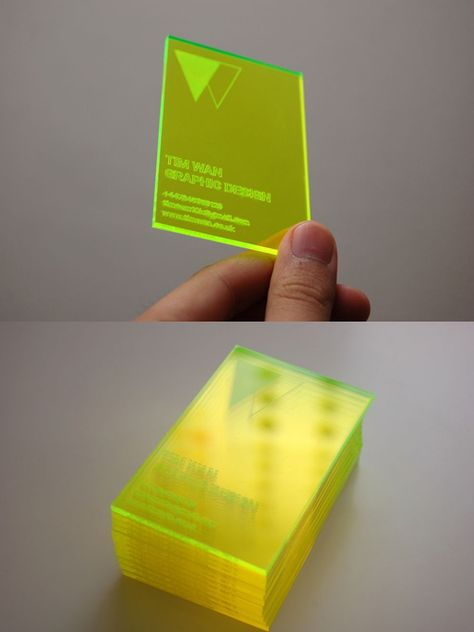 Laser cut and engraved acrylic business cards.