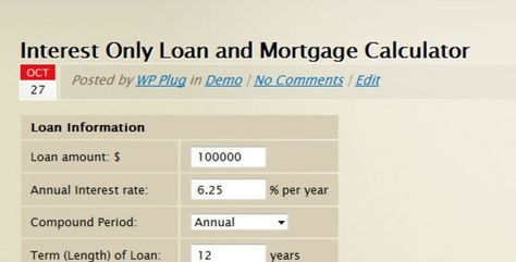 Interest Only Loan Mortgage Calculator Detailed Amortization
