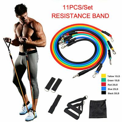 11pcs Resistance Bands Set Exercise Yoga Fitness Workout Training Strength Tubes