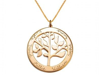 Personalised Necklace Family Tree of Life Names Gran Mother Gift Present