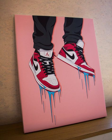 Nike Air Jordan sneaker canvas / wall art / nike trainer / dope art / street wear / original nike / ideas on canvas trippy Simple Canvas Paintings, Easy Canvas Art, Small Canvas Art, Mini Canvas Art, Cute Paintings, Acrylic Painting Canvas, Diy Canvas, Canvas Wall Art, Graffiti Canvas Art
