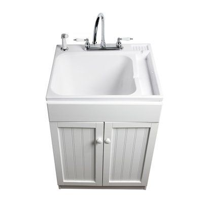 Asb Polypropylene Utility Tub In White Cabinet Lowes Laundry