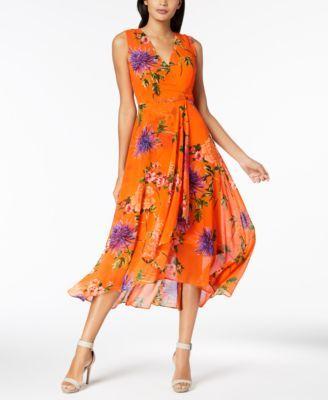 d9b3b899b55a Calvin Klein Printed Chiffon Faux-Wrap Dress, Regular & Petite Sizes ...