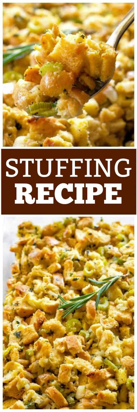 This is the best Classic Stuffing recipe with bread, onion, butter, and fresh herbs. You can't go wrong with this Thanksgiving stuffing recipe. #Thanksgiving #stuffing #recipe