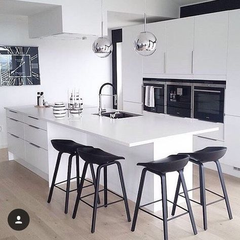 """40 Likes, 1 Comments - High Quality Renovations In TO (@edgecustomspaces) on Instagram: """"Gorgeous high gloss flat front cabinets and black accents photo cred @vibekkeellingsen and…"""""""