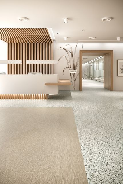 A new collection that represents a true change in direction for sustainable resilient flooring. Clinic Interior Design, Spa Interior, Clinic Design, Healthcare Design, Modern Interior, Dental Office Design, Modern Office Design, Design Offices, Modern Offices