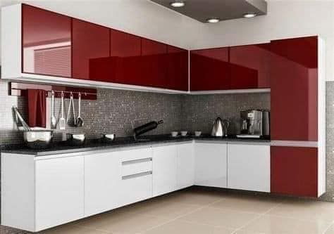 L Shaped Modular Kitchen With Upper Cabinets Glossy Finish In Maroon White Theme Modern Kitchen Cabinet Design Kitchen Design Kitchen Furniture Design