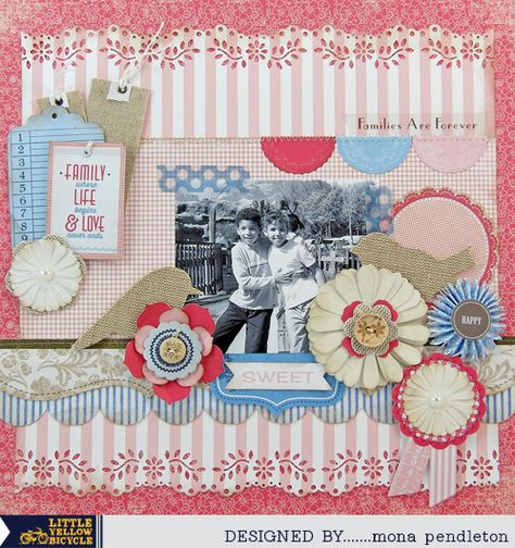 Loving the burlap embellishments on this layout by Mona Pendleton for Little Yellow Bicycle.