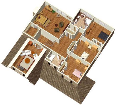 gambar denah rumah sederhana 1 lantai dengan 4 kamar tidur