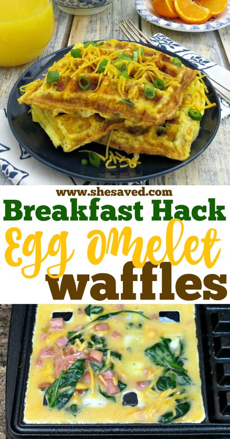 This is the ultimate mom hack! See how to make Egg Omelet Waffles in the waffle iron - super easy and a great way to get a nutritious and protein filled breakfast quickly and affordably! This is also a great breakfast for dinner recipe that my family loves!