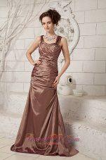 Elegant Chocolate Column Straps Brush Train Taffeta Ruch Mother Of The Bride Dress - US$125.48  http://www.dresses100.com  2013 2014 2015 chocolate dress for cocktail hour