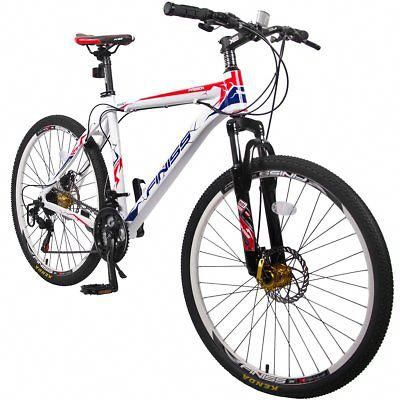 26 Inch Merax Finiss Aluminum 21 Speed Mountain Bike Racing Bicycle With Disc Brakes White Mountainbik Mountain Bike Reviews Best Mountain Bikes Bike Reviews