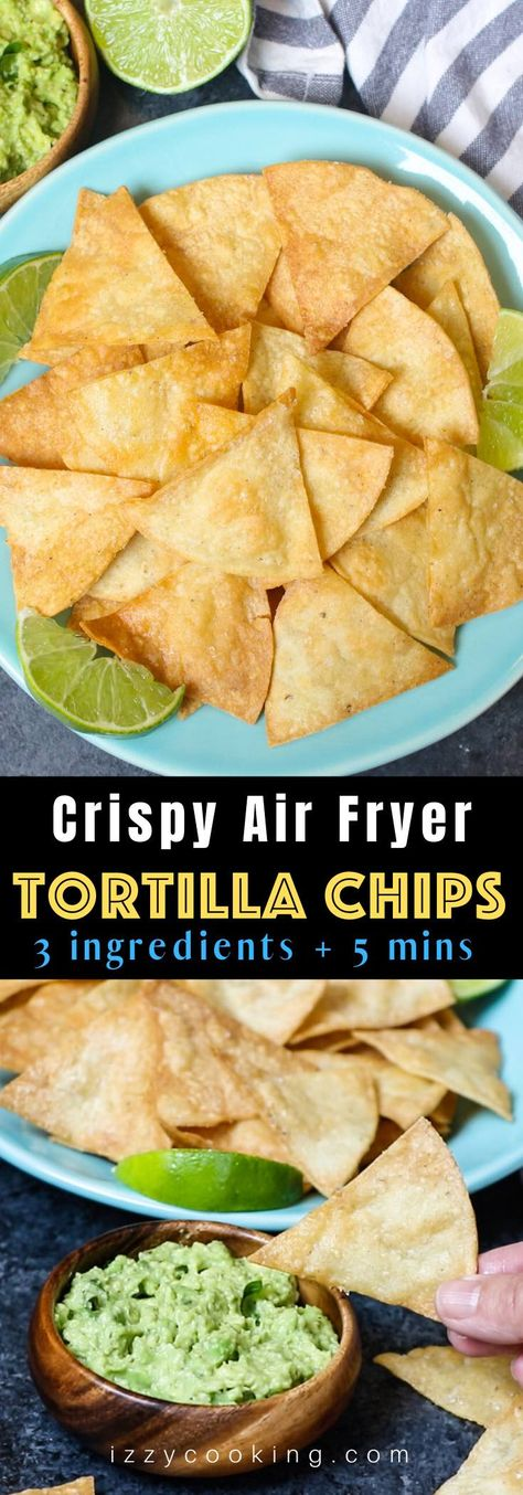 The best ever super crispy and crunchy Air Fryer Tortilla Chips without oil! You'll only need 3 ingredients and a few minutes! The best ever super crispy and crunchy Air Fryer Tortilla Chips without oil! You'll only need 3 ingredients and a few minutes! Air Fryer Oven Recipes, Air Frier Recipes, Air Fryer Dinner Recipes, Air Fryer Recipes Mexican, Air Fryer Recipes Without Oil, Recipes Dinner, Air Fryer Recipes Appetizers, Easy Snacks, Easy Meals
