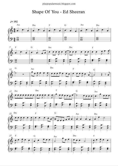 Shape Of You Ed Sheeran Piano Sheet Music Free Clarinet Sheet