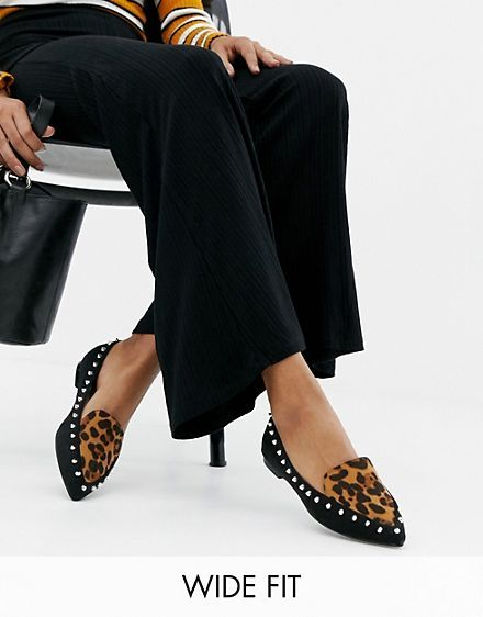 Lost Ink Wide Fit Olive leopard print