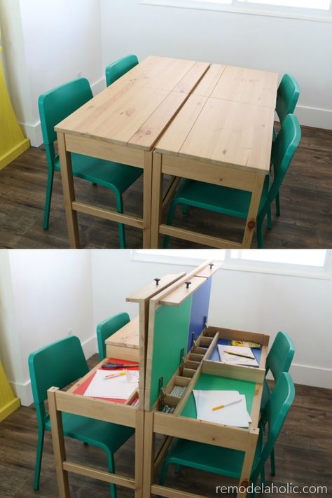 IKEA desk hack table for dual purpose use - dining or homework table with hidden. - Ikea DIY - The best IKEA hacks all in one place Ikea Hemnes Desk, Homework Table, Homework Station, Desk Hacks, Ikea Hacks, Multipurpose Room, Home Learning, Learning Spaces, Hidden Storage