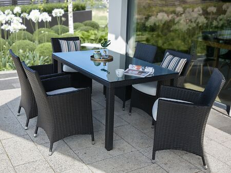 Details About Garden Set Rattan 160 Cm Table And 6 Chairs With