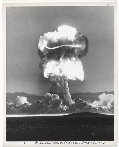 "United States Atomic Energy Commission, ""Atomic Tests in Nevada [Priscilla Shot fireballs, June 24, 1957]"" (1957) 