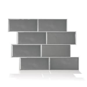 Smart Tiles Metro Grigio Grey 11 56 In W X 8 38 In H Peel And Stick Self Adhesive Decorative Mosaic Wall Tile Backsplash Sm1064 1 The Home Depot In 2021 Smart Tiles Self Adhesive