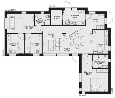 Plan maison 4 chambres Planos de casas con 4 dormitorios - plan de maison rectangulaire plain pied
