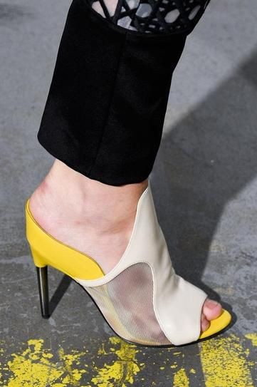 Dare to wear color blocked mules this season!