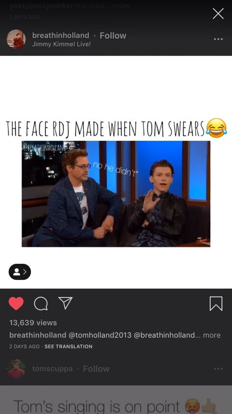 Follow @q.uackson for more Tom Holland #tomholland #tomholland2013 #tomhollandfanpage #rdj #robertdowneyjr #swear #excessivesweating