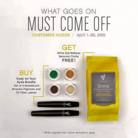 Whats better Than free!!! Buy the amazing Easy on the Eyes Collection which includes 4 Mineral Eye Pigments and the Amazing 3d Moodstruck 3D Fiber Lashes and get Youniques nourishing Shine Make-Up Removers Cloths for FREE!!! This amazing deal wont last #Free #bargain #makeup #springready #lashes #mineralpigments #loveyourskin #necessity Shop Here : http://juliesyouniquelashes.com/