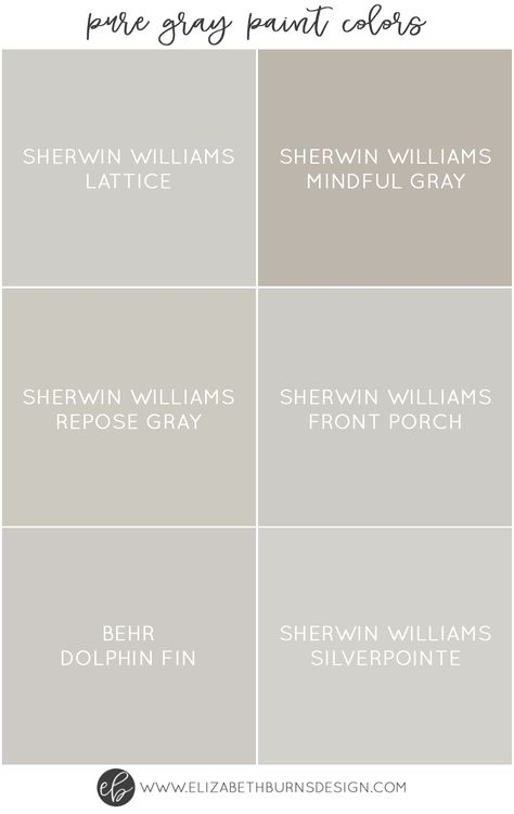 I love greige walls as much as the next gal, but sometimes you just want a true gray. Not brownish, not greenish, not purplish. Just a beautiful, soft grey. It can actually be a little tricky to find a 100% pure gray paint color (even a few of the ones below have a hint of another tint to them