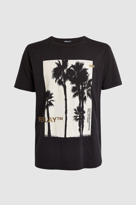 Black REPLAY T-Shirt with Palm Print