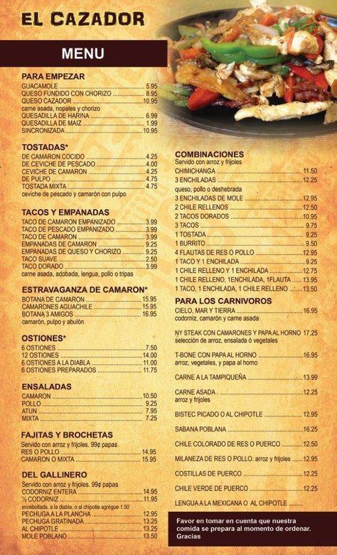 Mexican Food Menus In Spanish Food Ideas Mexican Food Recipes Mexican Food Menu Spanish Restaurant Menu