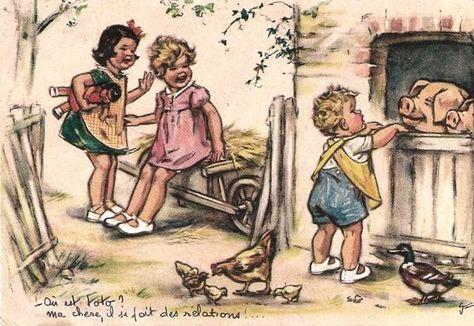 Germaine Bouret - vintage postcard