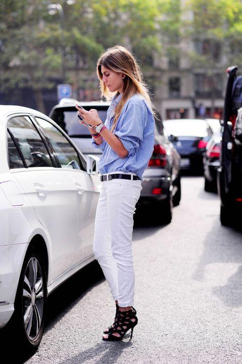 Blue button-down + white jeans + black heels