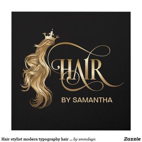 Hair stylist modern typography hair extension panel wall art