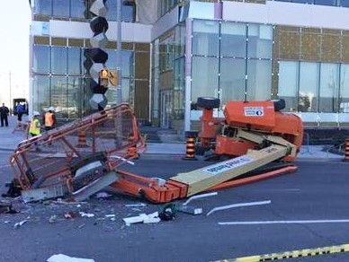 One man was killed and another was injured when their lift tipped over. You can see the devastating scene and learn more about how to prevent accidents like this one.