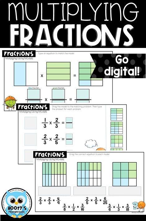 Multiplying Fractions Using Models Digital Activities Multiplying Fractions Fractions Math Fractions