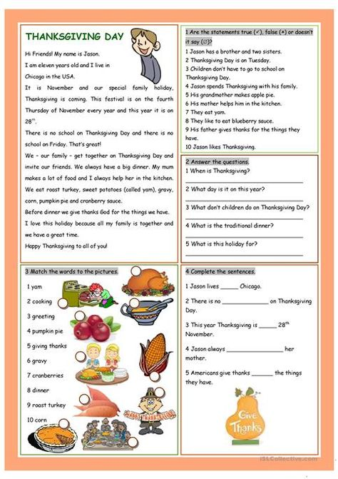 Thanksgiving Day Thanksgiving Reading Comprehension Thanksgiving Worksheets Thanksgiving Readings