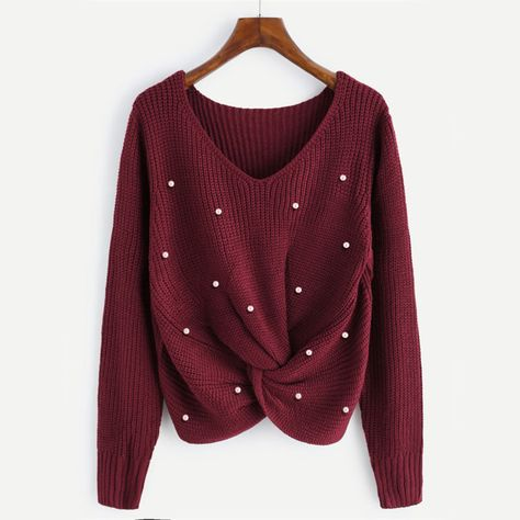8f7bd351a089 Women Sweater Pearl Knitted Long Sleeve Burgundy V Neck Twist Pullover  LFS   VNeck  Casual