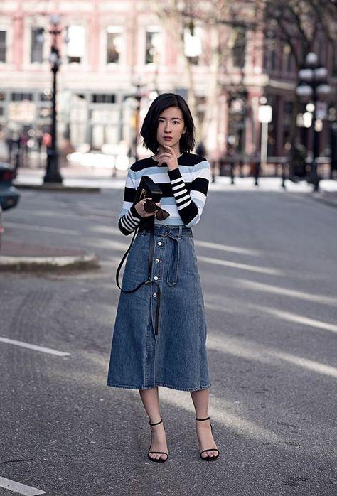 Πώς να φορέσεις τζιν φούστα  10 σύνολα για να αντιγράψεις - Μόδα ... 6da6a46bd36