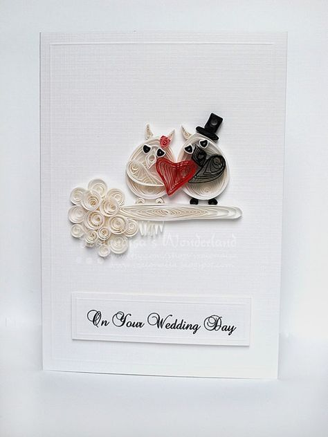 Wedding owls  quilling handmade card by szalonaisa on Etsy, $9.00: