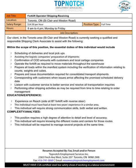 Pin by Topnotch Employment on Forklift Jobs Pinterest - shipping and receiving job description