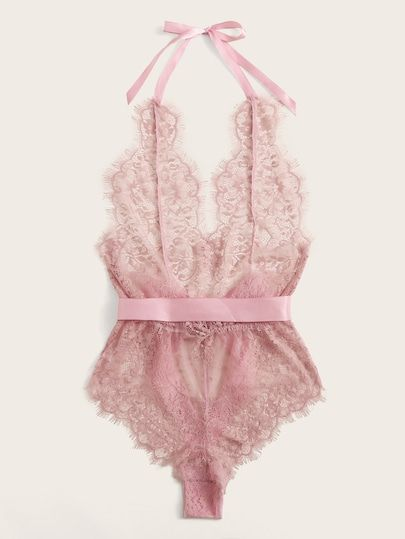 Sheer Lace Halter Teddy Bodysuit